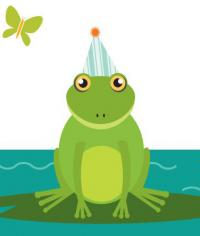 frog with party hat