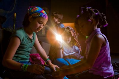 kids with flashlight