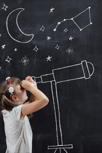 girl looking through telescope drawn on chalkboard