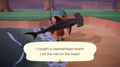 video game character holding shark