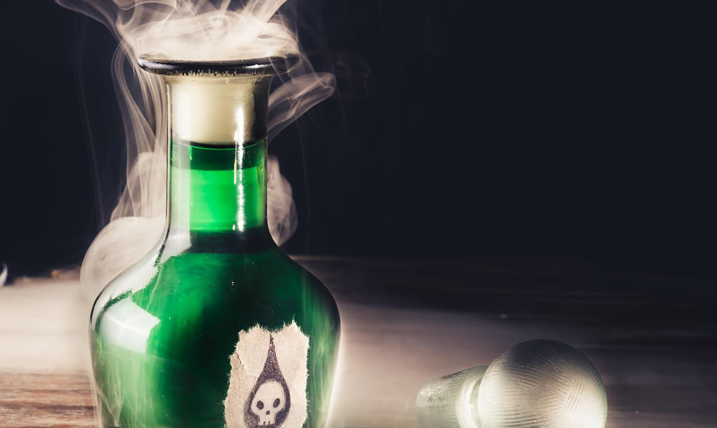 bottle of green poison